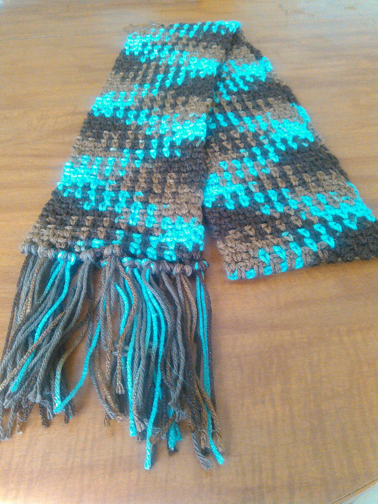Blue and Brown color pooled scarf by Zaraphena