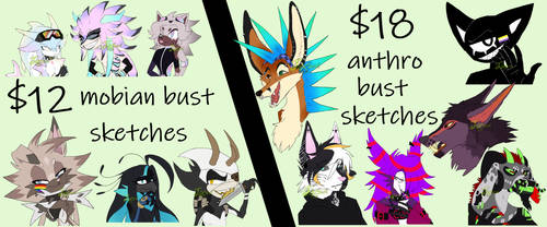 $12-$18 bust sketches {4 slots open} by Jaxzoi
