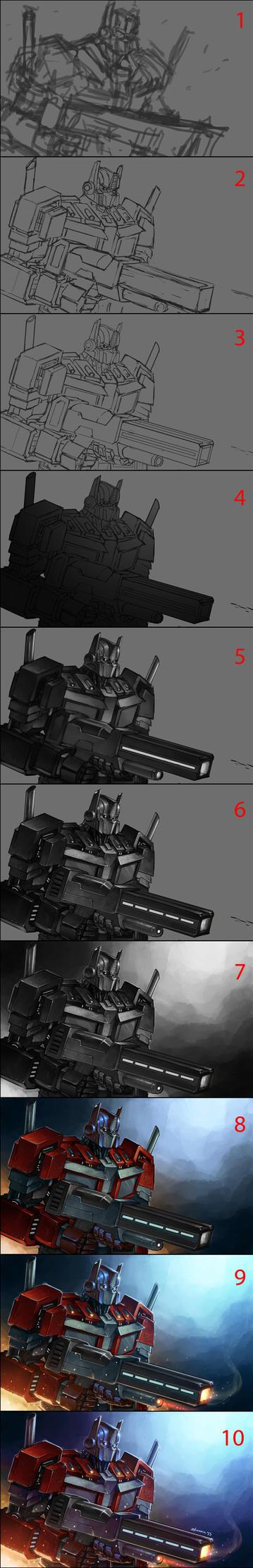 Optimus Prime step by step by Novanim