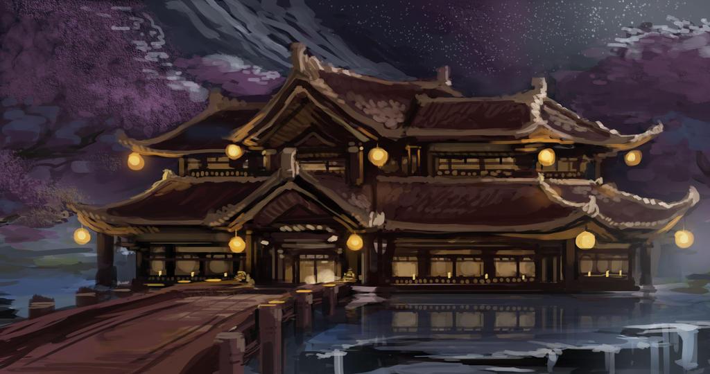 Irma Israfael:Caminos de Ceniza , Cabellos de libertad (OWA) Japanese_temple_painting_by_nin_mario64-d8qr2rf