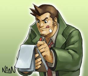 Ace Attorney Fanart - Detective Gumshoe