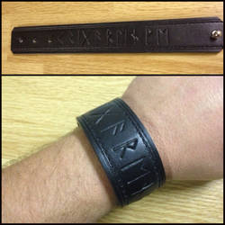 Black leather Krigarenve Runic Bracer by Vikingjack