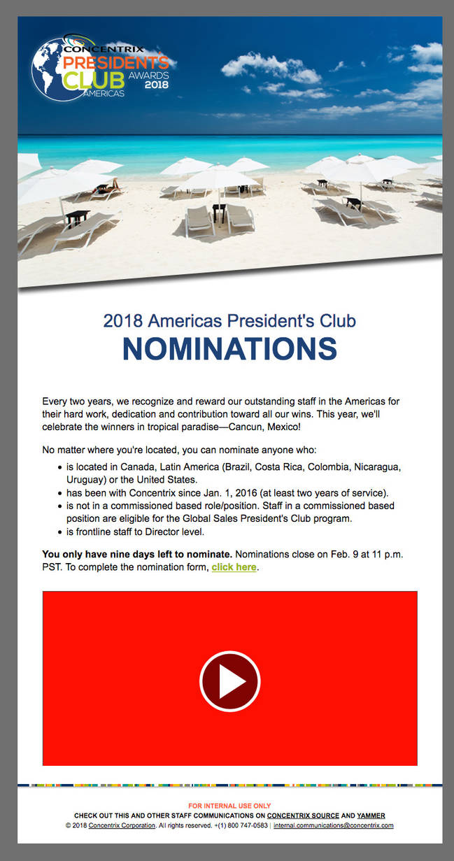 Concentrix Presidents Club Email Template