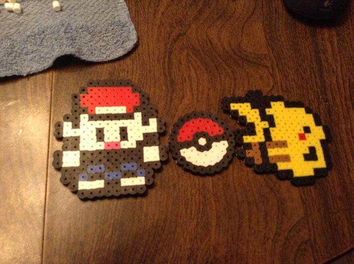 Perler bead Pokemon trainer and Pikachu by Maromis on DeviantArt