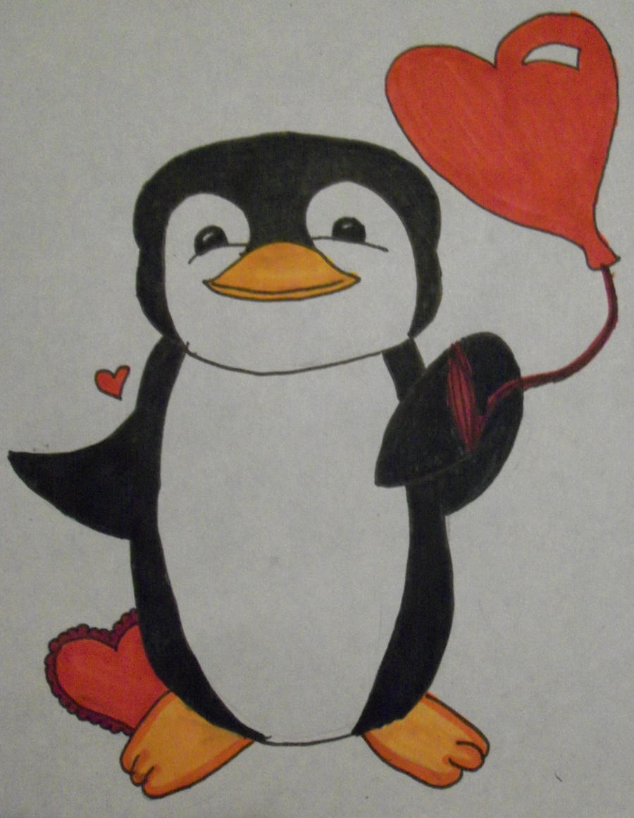 Drawings Of Cute Penguins Penguin valentine drawing by