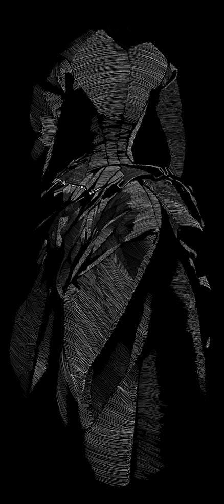 Black Bustle Dress 1880s by SGHILLUSTRATION