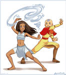 COMMISSION: Katara and Aang by lexxercise