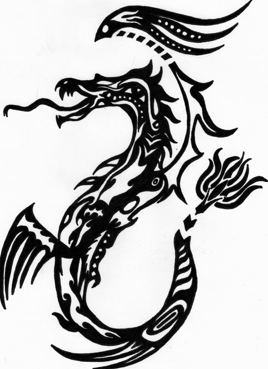 Tribal style dragon tattoo by vychick1 designs interfaces tattoo