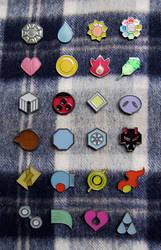 Pokemon Gym Badges - Kanto Johto Hoenn by winter-wish