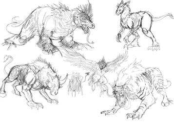 Creature Concepts 01 by kyrisnowpaw