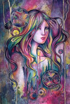 Oracle fantasy space galaxy woman watercolor art