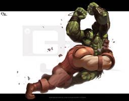 World War Hulk vs Juggernaut by DarkKenjie