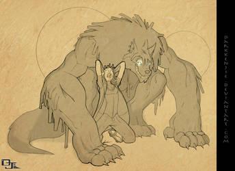 The Beast Within -line work- by DarkKenjie