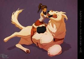 Korra and Naga -colored-