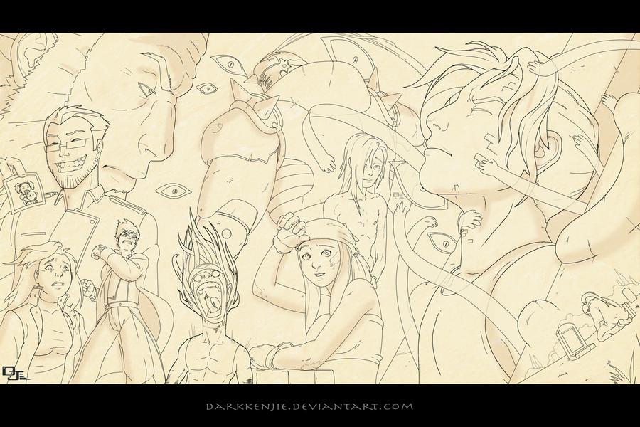 Full Metal Alchemist Brotherhood -lines- by DarkKenjie