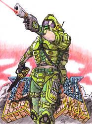 Doom re-design fan art by Oldquaker