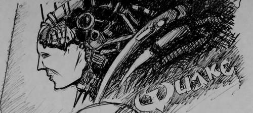 Quake 2 quick pen sketch by Oldquaker