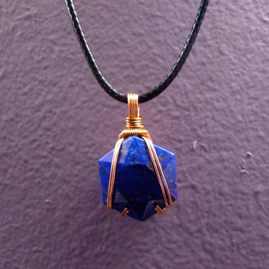 Wrapped Lapiz Lazuli Pendant by pcanjjaxdcd