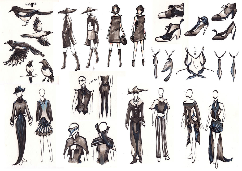 Magpie Fashion Sketches by pcanjjaxdcd