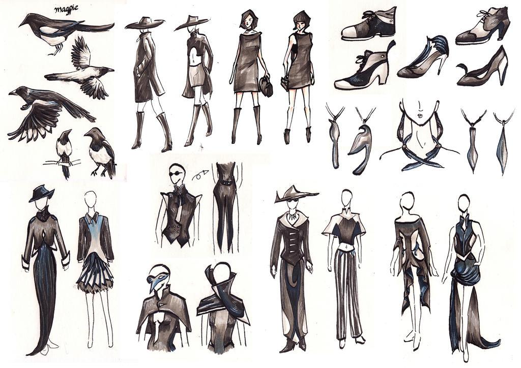 Magpie Fashion Sketches by pcanjjaxdcd