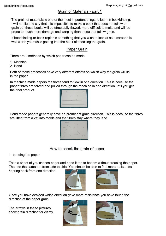 Grain of bookbinding materials part 1 by ThePressGang-ink