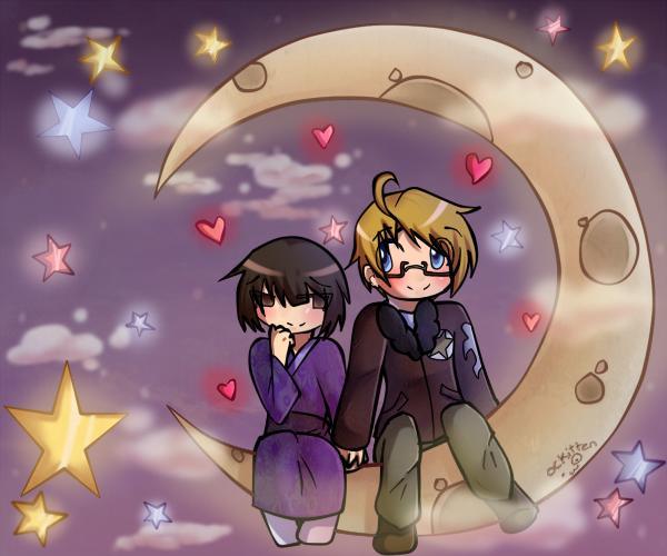 Hearts on the moon by OCkitten