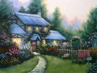 Blue Cottage, a Kinkade Study