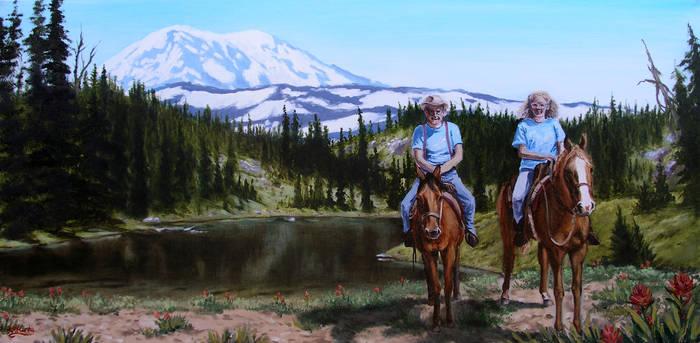 Horseback with Grandpa at Mt. Adams