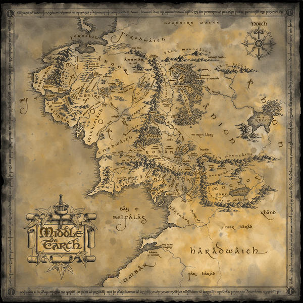 Middle Earth Map by JohnnySlowhand