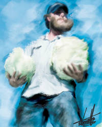 Bearded man with big cabbages by AZZUNEL