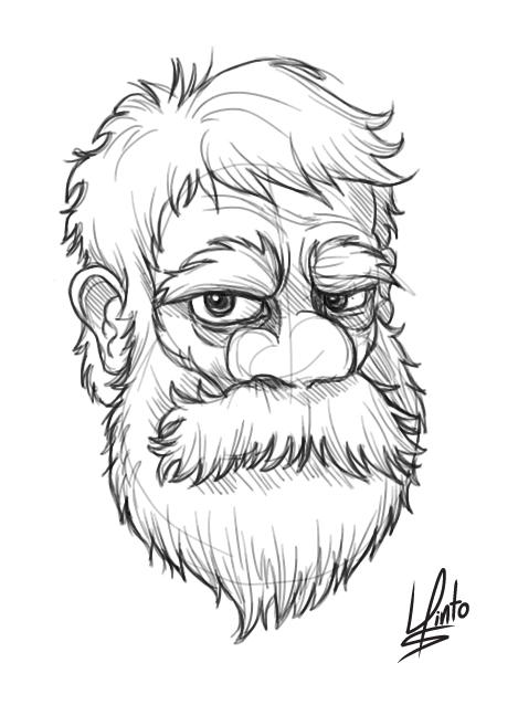 Beard Man Drawing Beard Man Sketch by Lupinto