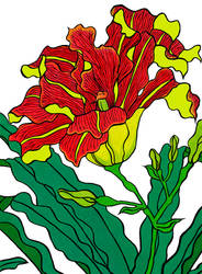 Red day-lily by RedSparkle, ukiyo-e flower
