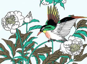After Unkowm, Bird on a flower by RedSparkle