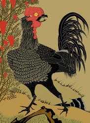 After ito jakuchu, Black Rooster and Nandina