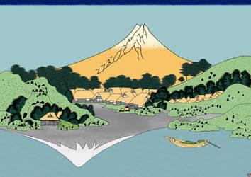 After Hokusai, The Fuji reflects in Lake Kawaguchi