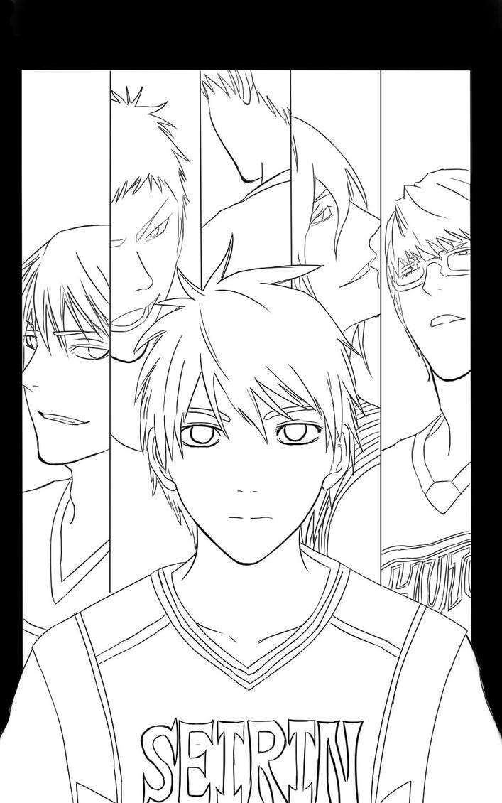Line Art Kuroko : Kuroko basket ball line art by e wgeo on deviantart