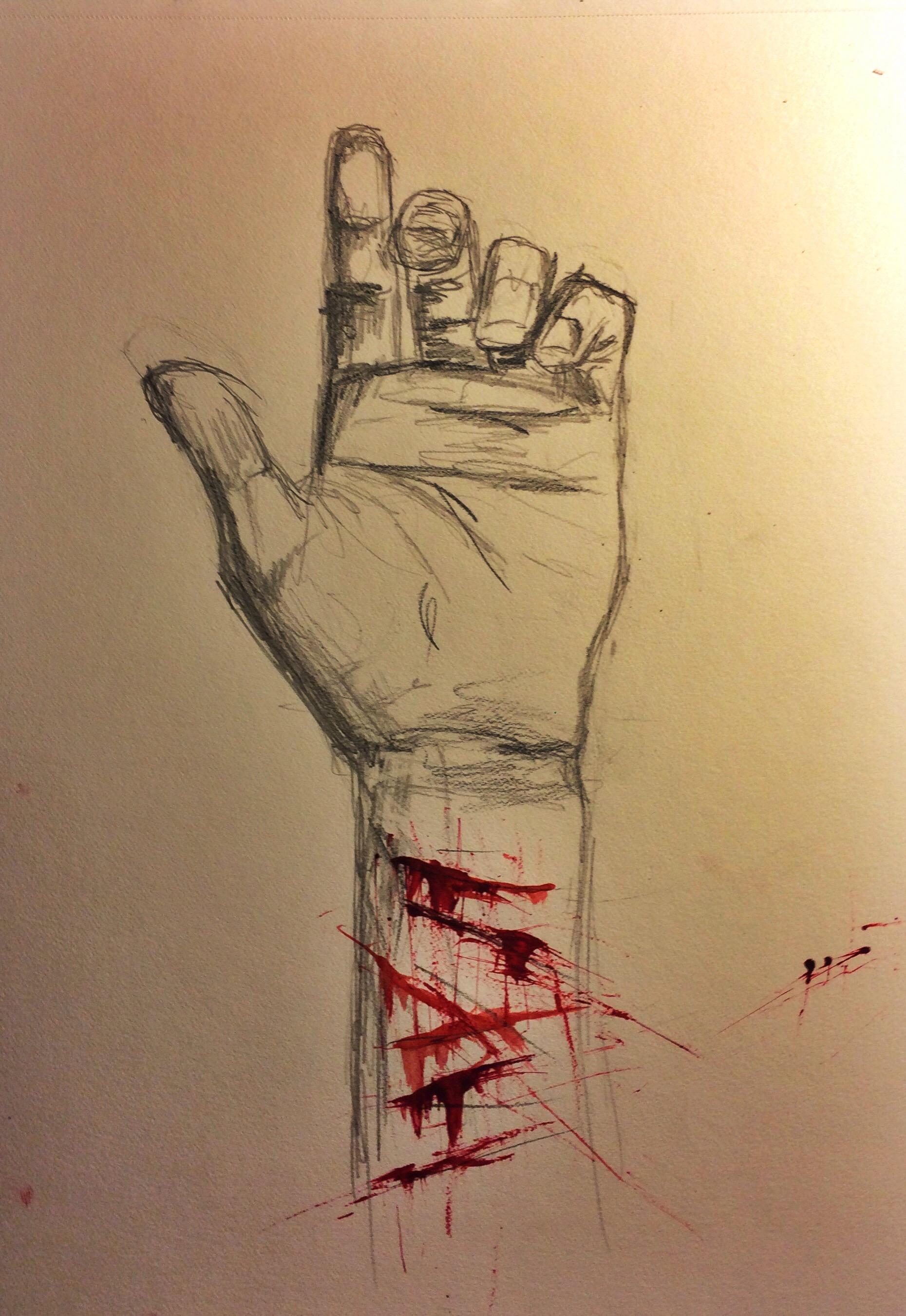 bleeding wrist drawing - HD1860×2699