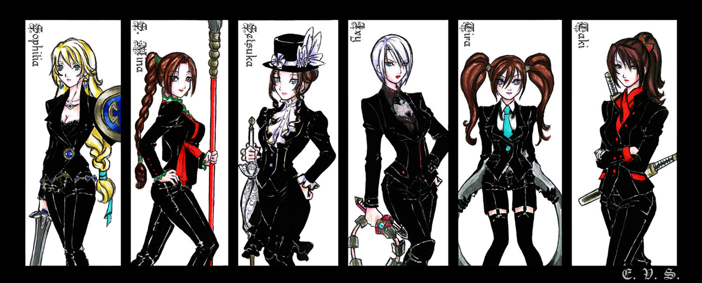Anime Characters In Suits : Sciv black suits part ii by evs eme on deviantart