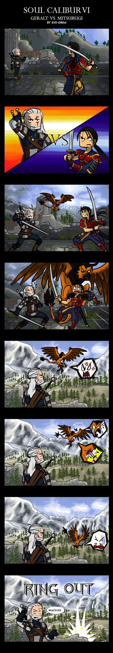 SCVI comic - Geralt VS Mitsurugi by evs-eme