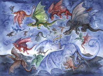 Dragons by kiriOkami