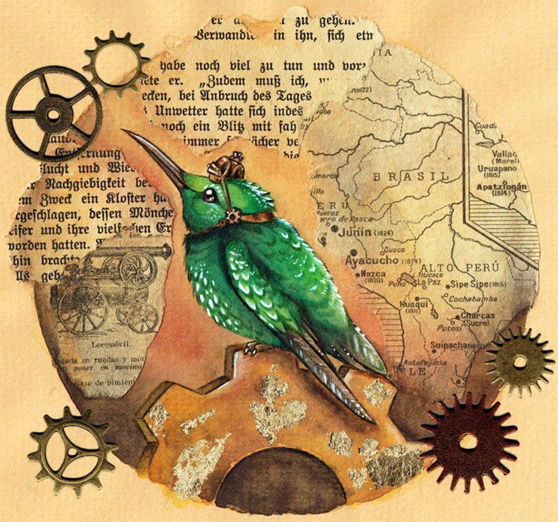 Steampunk hummingbird by kiriOkami