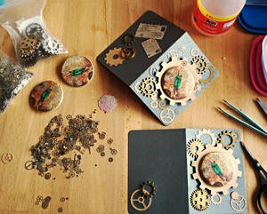 Steampunk button greeting cards