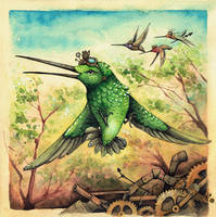 Steampunk Hummingbirds by kiriOkami