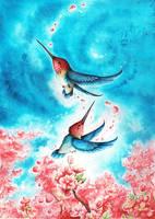 Spring Hummingbirds by kiriOkami