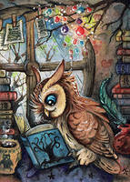 read makes wise ACEO by kiriOkami