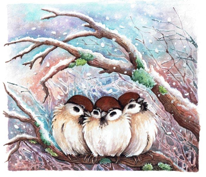 Three sparrows by kiriOkami