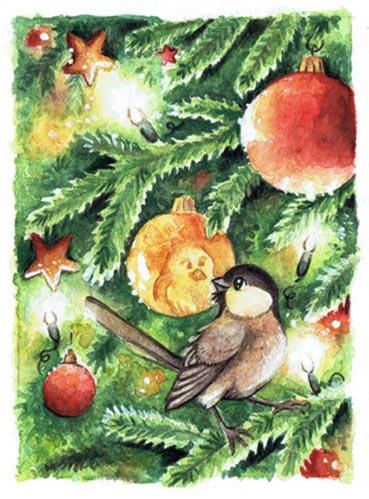 ACEO Christmasbird by kiriOkami