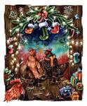 Christmas Chickens by kiriOkami