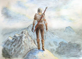 Ciri and Ard Skellig Mountains - Gabriel by JobertDrawings