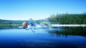 Rainbow dashing over a lake [PIRL]